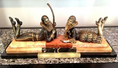 Art Deco Elegant French  Pierrot and Columbine Bronze Sculpture On Marble Base
