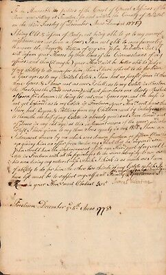 1778 EARLY AMERICAN DOCUMENT>OLD MAN'S Answer To Court For Son