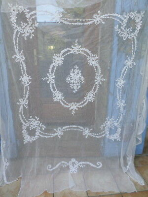 Beautiful Antique @1900`s French embroidered Bed Cover Applique Swags Bows