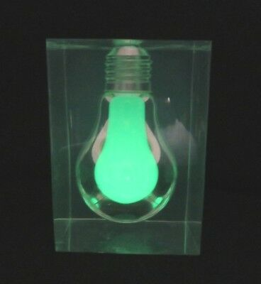 Lucite Glow In The Dark Light Bulb Paperweight