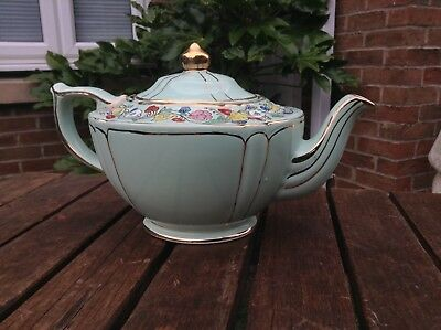 Sadler 2052 Teapot Minty Green With Gold Trim And flowers fabulous