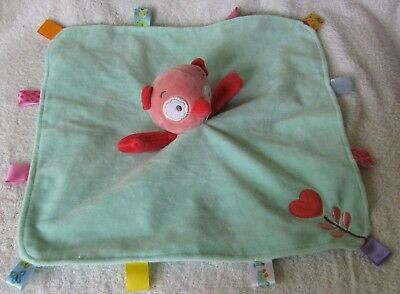 Taggies Owl Pink Green baby Security blanket satin tabs RATTLES