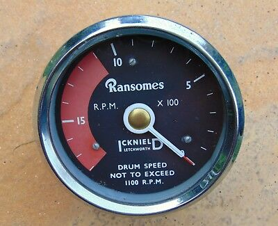 Classic ICKNIELD Rev Counter Gauge Ransomes Tractor Tachometer