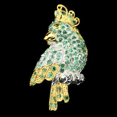 Gorgeous 2mm Green Emerald Chrome Diopside 925 Sterling Silver Parrot Brooch