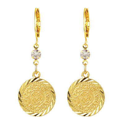 Women Gold Plated Arabic Islamic Religious Rhinestone Coin Earrings Jewelry