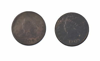 2 - 1809 Classic Head Half Cent Pieces Us Collectible Copper Coins - Ag-Damaged