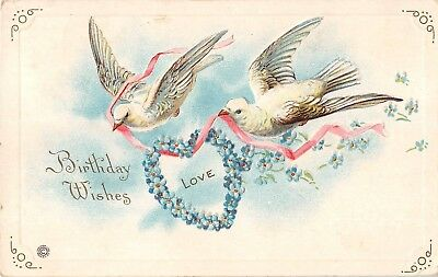 Pretty Doves With Heart Made of Forget-Me-Nots-1919 Birthday PC-Series 445 A