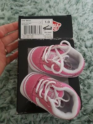 Baby Girl Pink Vans Crib Shoes/Trainers Size 1 BOXED