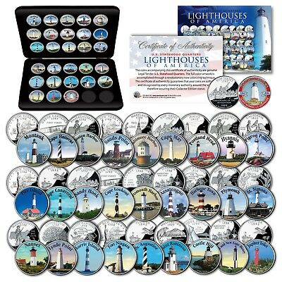 Historic American LIGHTHOUSES Colorized US Statehood Quarters 27-Coin Set w/BOX