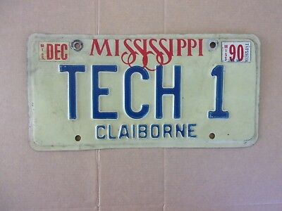1990 MISSISSIPPI License Plate TECH 1
