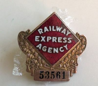 REA Railway Express Agency Employee Cap Badge circa 1940