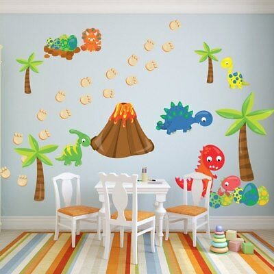 Cartoon Dinosaur And Egg Funny Wall Sticker For Kids Rooms Nursery Decoration