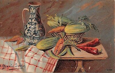 Old Still-Life PC of Pitcher, Carrots, Peas, Cucumbers- A. Gammius Boecker Art