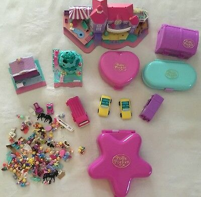 Huge Lot of Vintage Polly Pocket BlueBird compacts And Over 120 Loose PCs '92-96