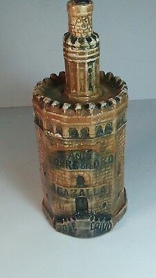 Collectible liquor decanter/bottle Anis Torre del Oro famous Seville landmark