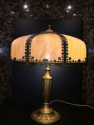 Antique Arts and Crafts Slag Glass Lamp