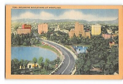 Vintage Postcard: Wilshire at Westlake, Los Angeles, Linen Unposted