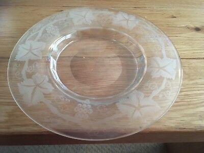 Grapes and vine etched Victorian glass plate 7 inches