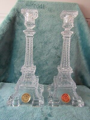 Rare Pair of Antique Eiffel Tower Portieux Vallerysthal Co. Candle Sticks c1914
