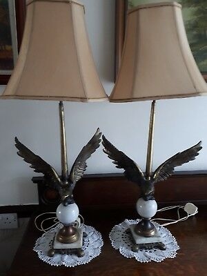 Pair of Fabulous used Brass and marble Antique Eagle lamps