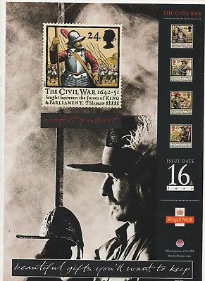 1992 Post Office A4 Poster Grille Card - The Civil War