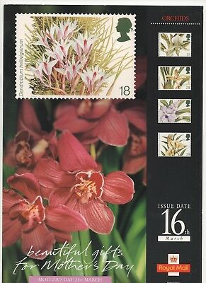 1993 Post Office A4 Poster Grille Card - Orchids