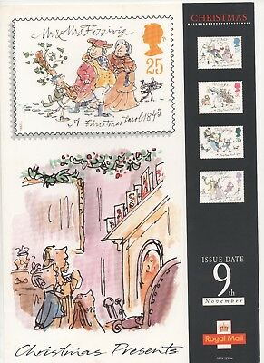1993 Post Office A4 Poster Grille Card - Christmas Dickens Christmas Carol