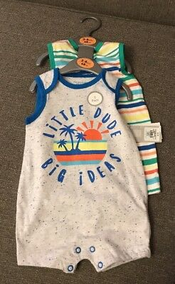 2 X Baby Boys Playsuits 3-6 Months Bnwt