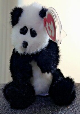 TY CHECKERS Black & White PANDA BEAR 1993 Jointed NWT gift