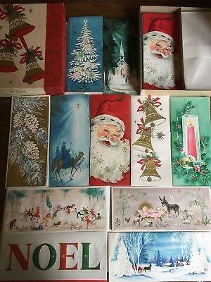 Vintage Christmas Cards UNUSED Box of 21 Glitter & Golden Santa Bell Candle RARE