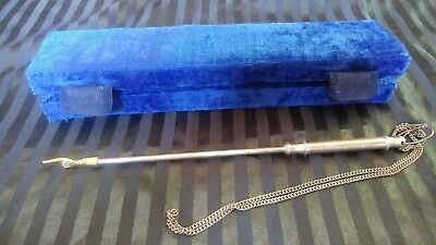 Vintage Alef Judaica Silver Torah Pointer with Blue Velvet Case 10""
