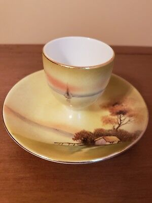 Antique Nippon Porcelain Hand Painted Egg Cup With Plate Attached