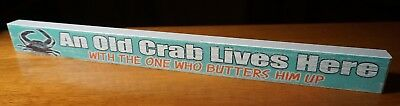 "Coastal Kitchen Crab Sign Beach Home Decor OLD CRAB LIVES HERE 18"" Wood Teal NEW"