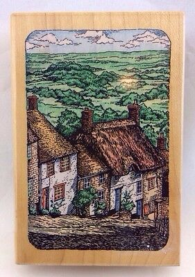 """STAMPENDOUS 1996 Etchling a GOLDHILL STREET 3.5"""" Rubber STAMP England Cottages"""