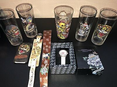 Ed Hardy Lot Of 9 Items Watch 2 Leather Bracelets Case Glassware Tumblers +More