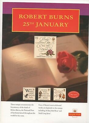 1996 Post Office A4 Poster Grille Card - Robert Burns Bicentenary