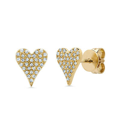 0.14 CT 14K Yellow Gold Natural Round Cut Pave Real Diamond Heart Stud Earrings