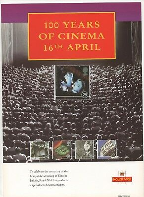 1996 Post Office A4 Poster Grille Card - 100 Years of Cinema