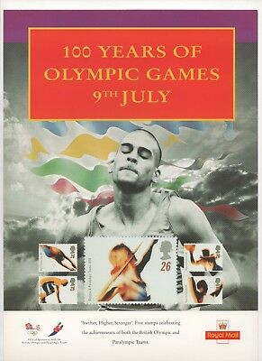 1996 Post Office A4 Poster Grille Card - 100 Years of Olympic Games