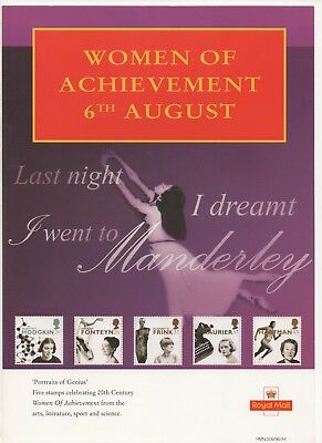 1996 Post Office A4 Poster Grille Card - Women of Achievement