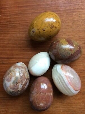 Vintage Marble Granite Eggs Set of 6 Polished  Smooth   Attractive