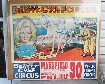 Vintage 1965 Clyde Beatty-Cole Bros. Circus Poster Mansfield Ohio Lions July