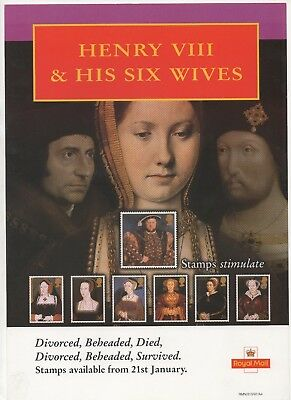 1997 Post Office A4 Poster Grille Card - Henry VIII & His Six Wives