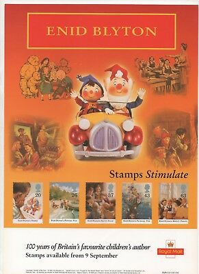 1997 Post Office A4 Poster Grille Card - Enid Blyton