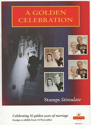 1997 Post Office A4 Poster Grille Card - Golden Wedding