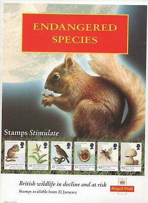 1998 Post Office A4 Poster Grille Card - Endangered Species
