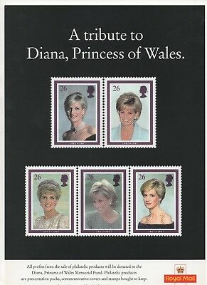 1998 Post Office A4 Poster Grille Card - Diana Princess of Wales