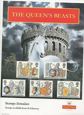 1998 Post Office A4 Poster Grille Card - The Queen's Beasts