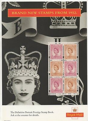 1998 Post Office A4 Poster Grille Card - Definitive Stamps from 1952