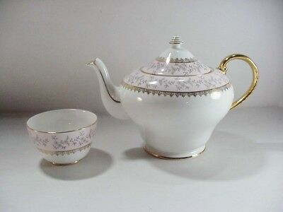 Royal Grafton Fine Bone China, England: Silver Dawn Teapot / Server & Open Sugar